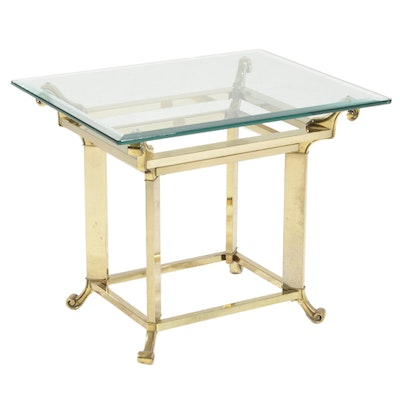 Brass Side Table with Beveled Glass Top, 21st Century