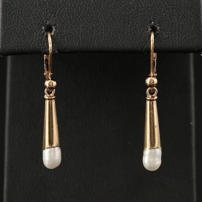 James Avery 14K Pearl Torpedo Drop Earrings