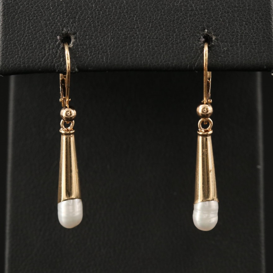 James Avery 14K Pearl Torpedo Drop Earrings
