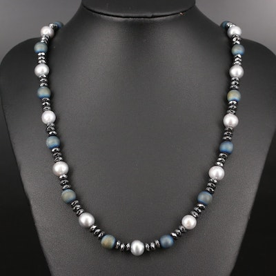 Pearl, Druzy and Hematite Bead Necklace with Sterling Silver Clasp