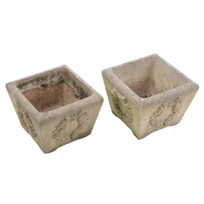 Wreath Patterned Cast Concrete Garden Planters