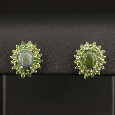Sterling Silver Opal and Diopside Oval Button Earrings