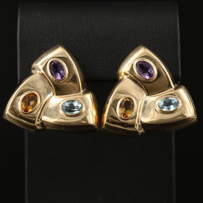 14K Citrine, Topaz and Amethyst Hollow Form Earrings
