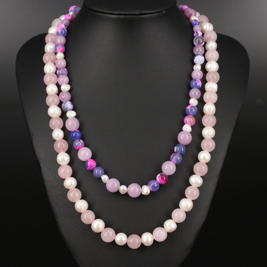 Pearl and Beaded Quartz Necklaces with Sterling Silver Clasps
