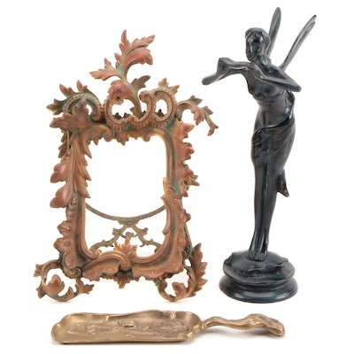 Rococo Style Gilt Metal Table Frame with Art Nouveau Statuette and Crumber