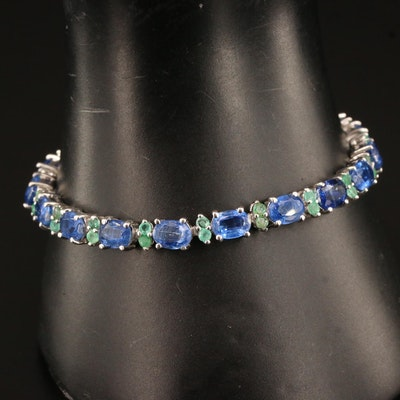 Sterling Kyanite and Emerald Line Bracelet