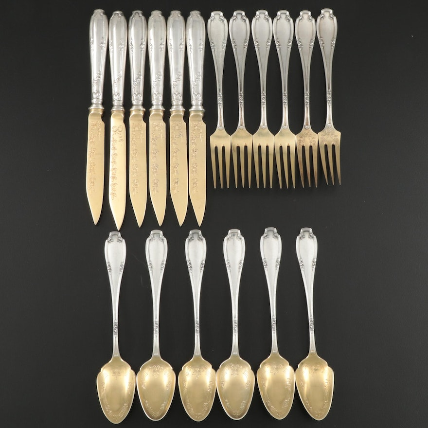 Koch & Bergfeld 800 Silver and Gold Wash Fruit Set for Six, Late 19th Century