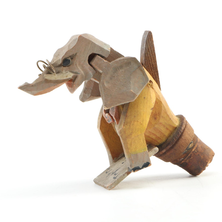 German Mechanical Wood Carved Elephant Bottle Stopper, Early to Mid-20th Century