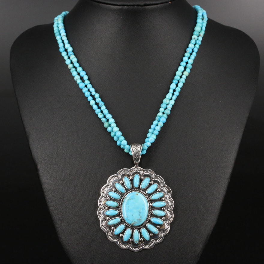 Sterling Turquoise Necklace with Pendant Enhancer