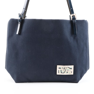 Fendi Navy Blue Canvas Tote with Contrast Stitching and Leather Straps