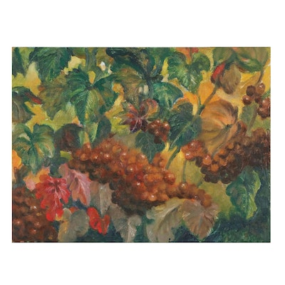 Jacques Zuccaire Oil Painting of Berries, 20th Century