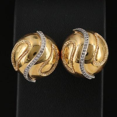 14K Diamond Button Earrings