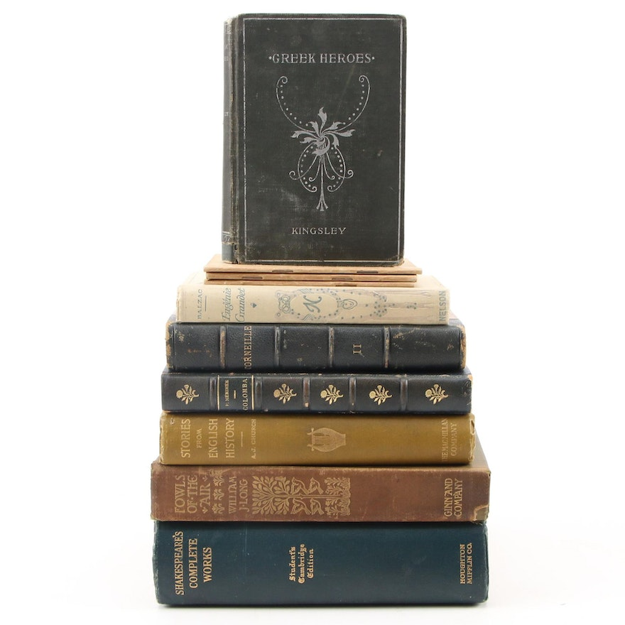 English and French Classic Story and History Book Collection