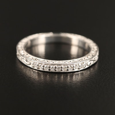 Platinum Diamond and Engraved Band