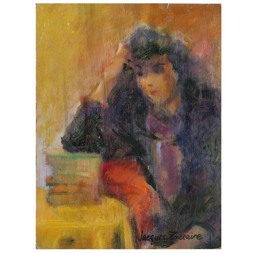 Jacques Zuccaire Oil Painting of Woman, 20th Century