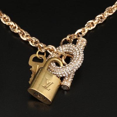 Louis Vuitton Pad Lock and Key on Rhinestone Chain