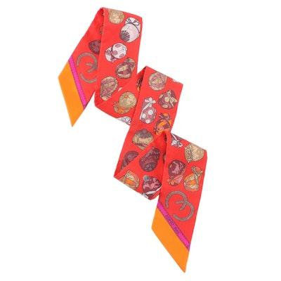 Hermès Jockey Cap Motif Silk Twilly Scarf with Box