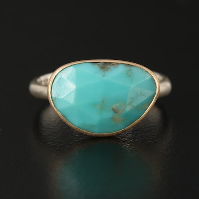 Sterling Silver Turquoise Ring with 18K Top