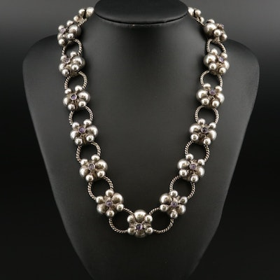 Vintage Mexican Sterling Silver Amethyst Link Necklace