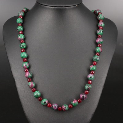 Chalcedony and Faux Ruby in Zoisite Beaded Necklace with Sterling Clasp