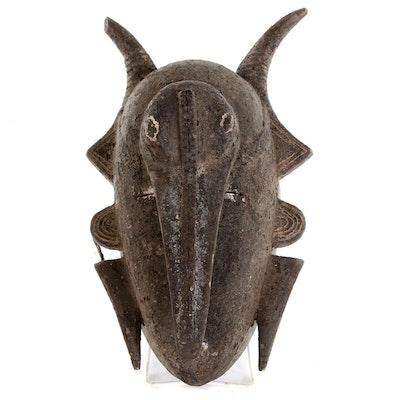 Senufo-Ligbi Hand-Carved Wood Hornbill Motif Mask, Côte d'Ivoire