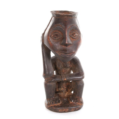 Hemba Hand-Carved Seated Offering Figure, Democratic Republic of the Congo