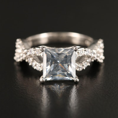 Sterling Silver Moissanite and Cubic Zirconia Ring with Infinity Shoulders