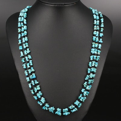 Turquoise and Spinel Beaded Multi Strand Necklace with Sterling Silver Clasp