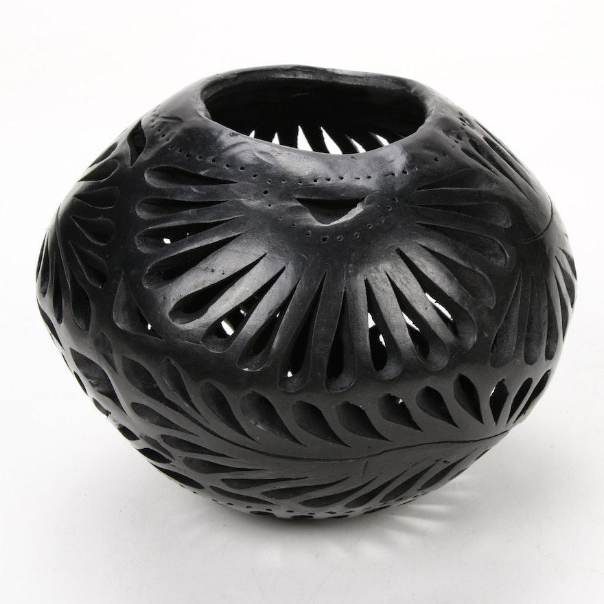 Oaxacan Blackware Pierced Pottery Bowl