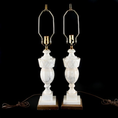 Pair of Carved Marble Urn Table Lamps