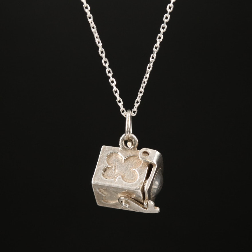 Sterling Jack in the Box Pendant Necklace the Movable Handle and Lid