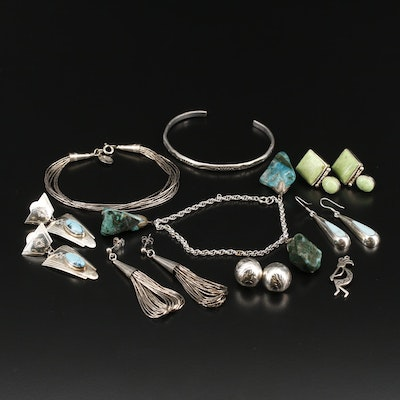 Collection of Sterling Jewelry Including Liquid Silver Bracelet and Earrings