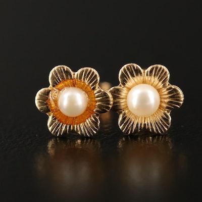 14K Flower Pearl Stud Earrings