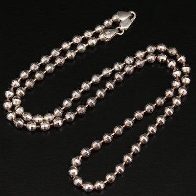 Sterling Silver Faceted Bead Chain Necklace