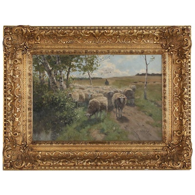 "Willem Steelink I Oil Painting ""Going to Pasture"", Late 19th Century"