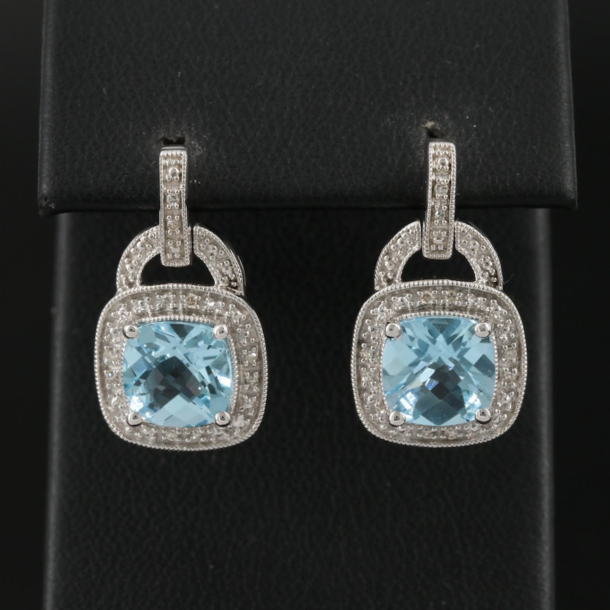 Sterling Silver Topaz and Diamond Drop Earrings