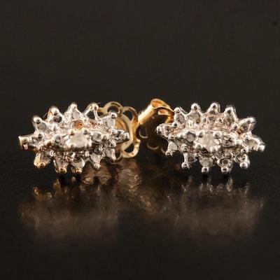 10K Illusion Set Diamond Navette Stud Earrings