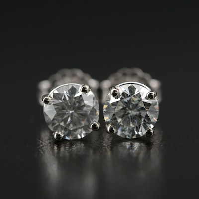 14K Gold 1.40 CTW Diamond Solitaire Earrings with GIA Reports