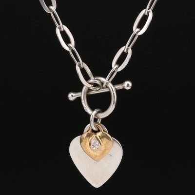 Sterling Silver Heart Pendant Toggle Necklace with Cubic Zirconia Accent