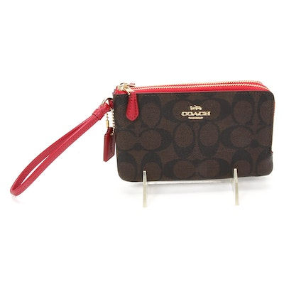 Coach Signature Coated Canvas Wristlet with Red Leather Trim