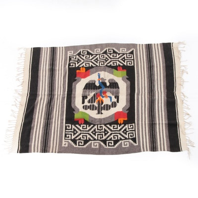Handwoven Mexican Wool Serape Blanket Shawl, Early to Mid 20th Century