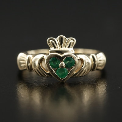 14K Emerald Claddagh Ring