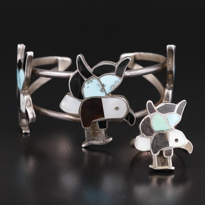 Southwestern Sterling Ring and Cuff Featuring Gemstone Inlay and Bird Motif