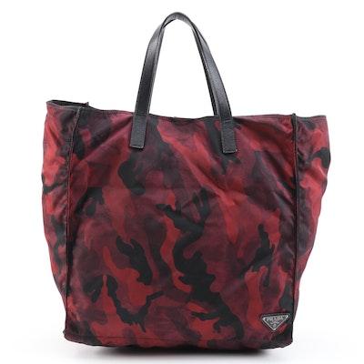 Prada Red/Black Camouflage Tessuto Nylon and Leather Shoulder Tote