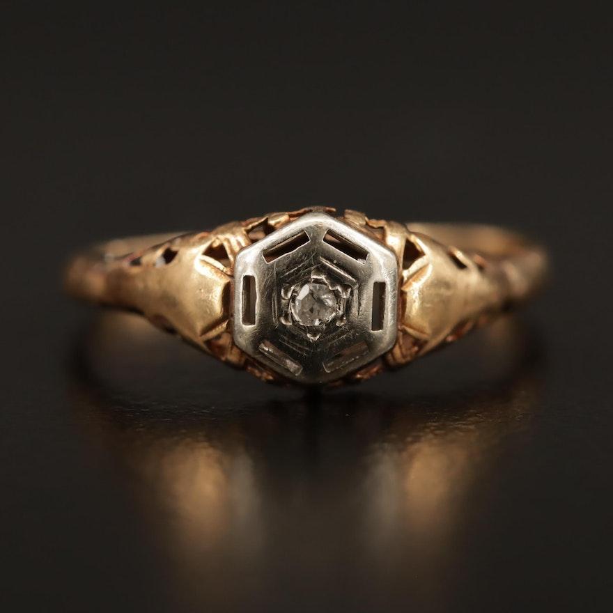 Vintage 14K Openwork Diamond Ring