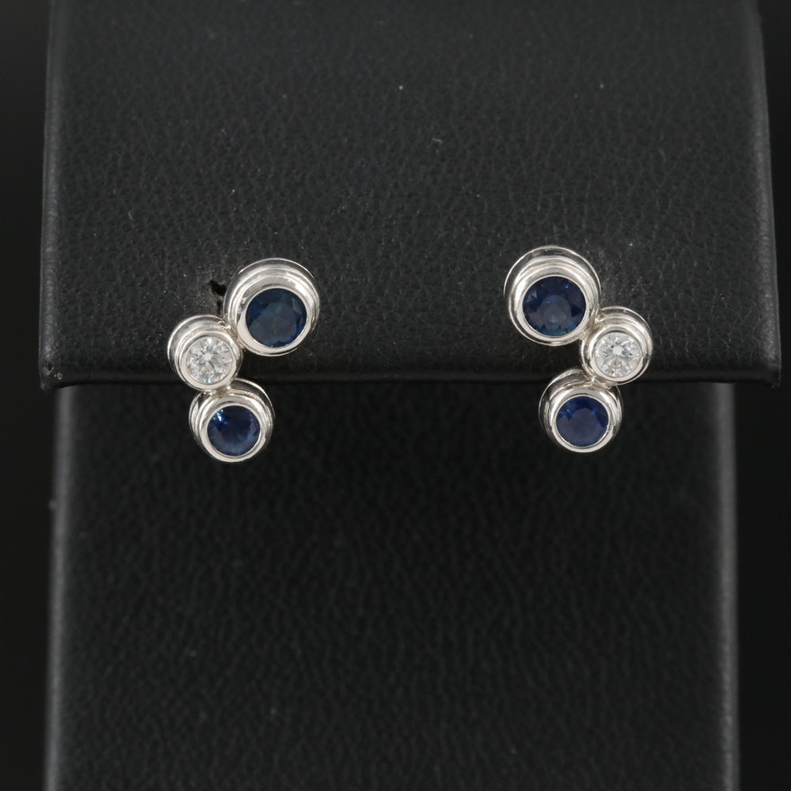 "Tiffany & Co. ""Bubble"" Platinum Sapphire and Diamond Stud Earrings"