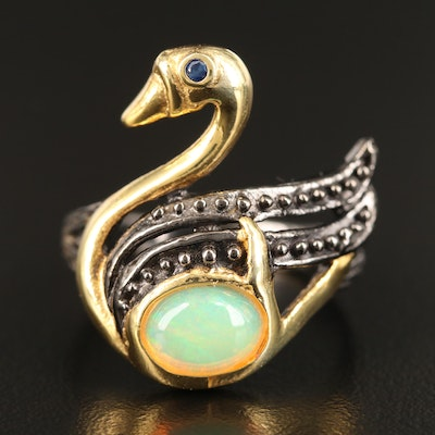 Sterling Silver Opal and Sapphire Swan Ring