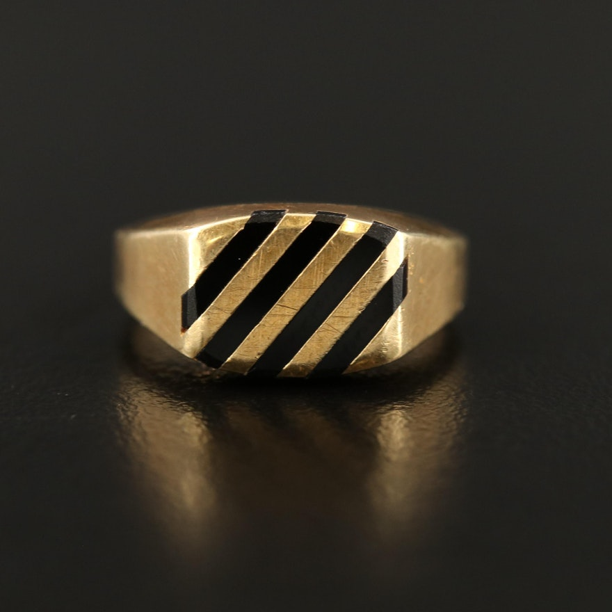 14K Black Onyx Inlay Ring