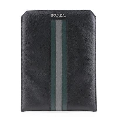 Prada Black, Dark Green and Gray Saffiano Leather iPad Mini/Tech Case