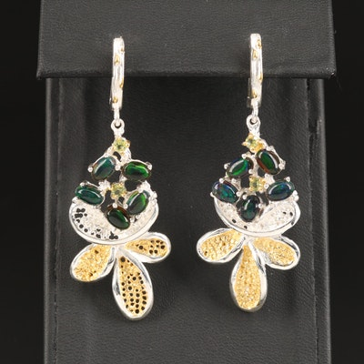 Sterling Silver Opal and Peridot Earrings